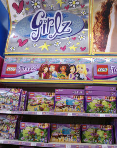 Lego Friends displayed under 'Girlz', away from the rest of the Lego (Portsmouth, June 2013)