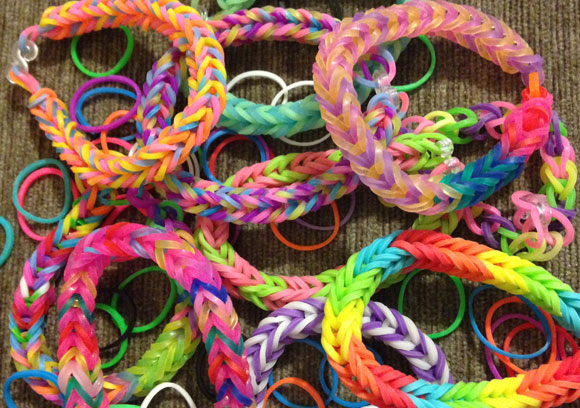 Colourful loom band bracelets