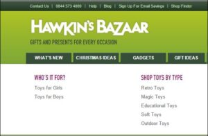 Hawkin's Bazaar website navigation - detail. Text 'Who's it for? Boys/Girls'