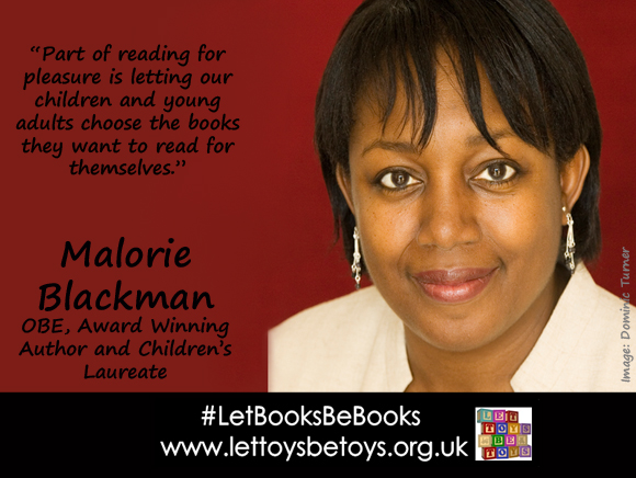 "Malorie Blackman, OBE, author and former Children's Laureate: ""Part of reading for pleasure is letting our children and young adults choose the books they want to read for themselves"""