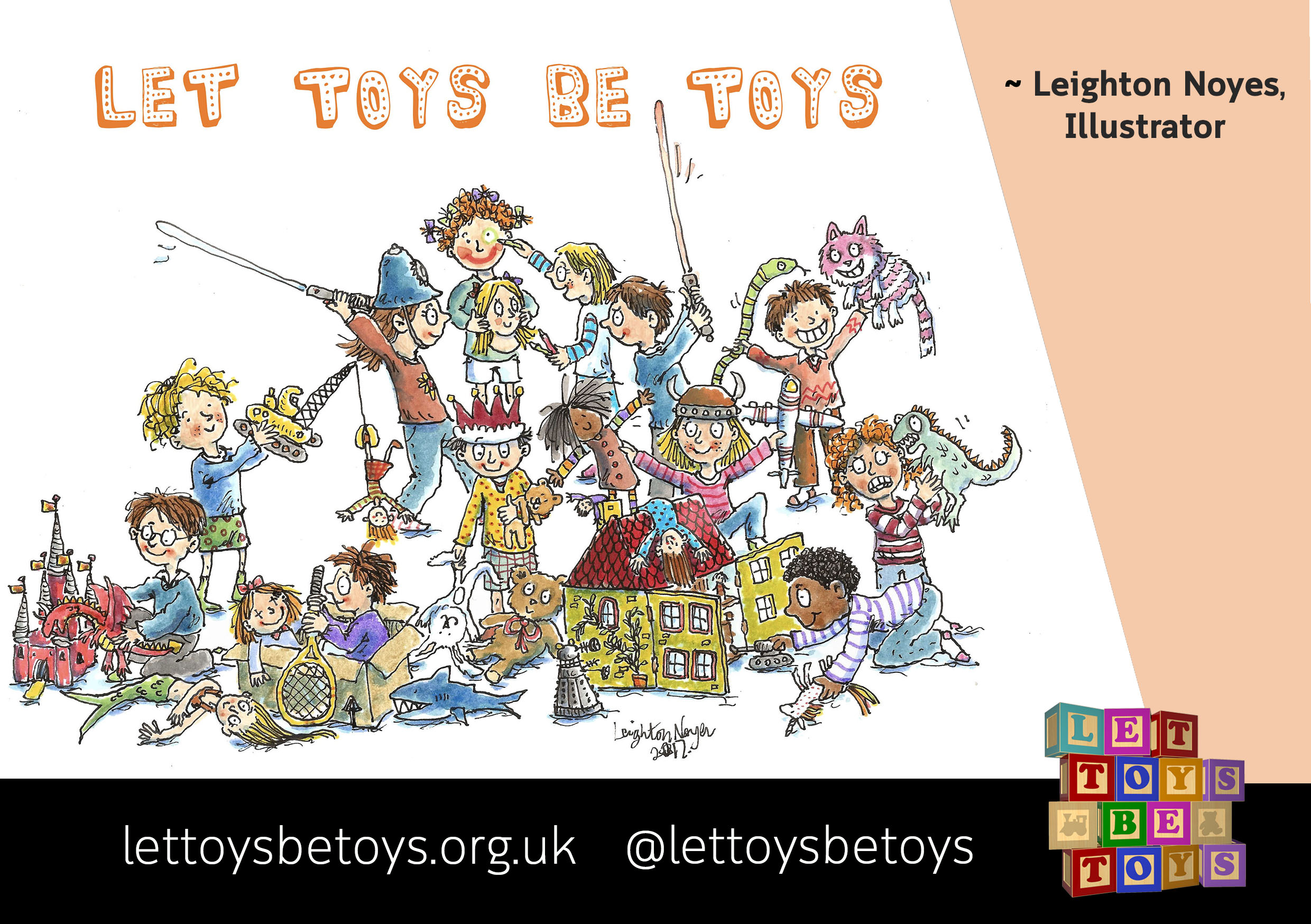 Leighton Noyes, Illustrator: An illustration of a dozen children of different genders playing with a range of different toys