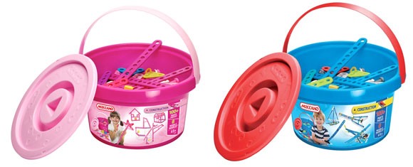 Pink and blue buckets of Meccano