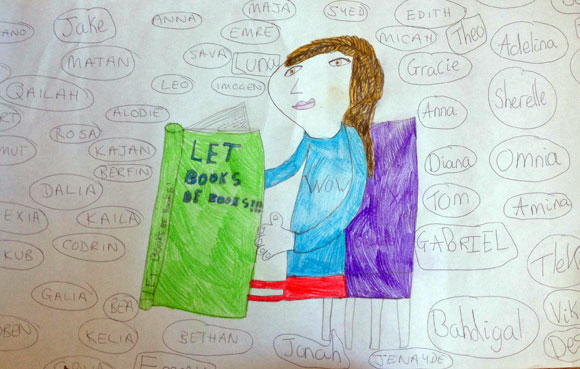 Child's drawing of a person holding a book that says 'Let Books Be Books' on the cover, surrounded by children's names