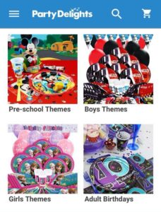 Screenshot of party delights website with separate sections for boys parties and girls parties