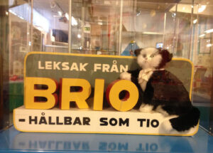 A BRIO toy has ten lives - old advertising on display in the Lekoseum in Osby