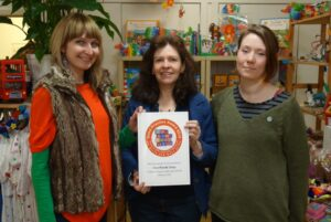 LTBT campaigner Shona Reppe and One World staff Rachel Farey and Claire Hutchins