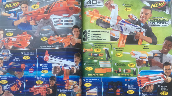 Catalogue pages with Nerf blasters featuring only boys