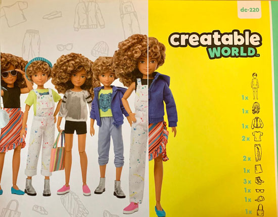 Packaging for Mattel Creatable World dolls, showing the doll with a range of hairstyles and outfits.